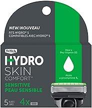 Schick Refil de barbear masculino Hydro 5 Sense Sensitive Skin para pele sensível, pacote com 4