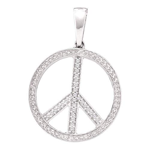 Jewel Tie Solid 10k White Gold Round Diamond Peace Sign Circle Pendant (1/10 Cttw.)