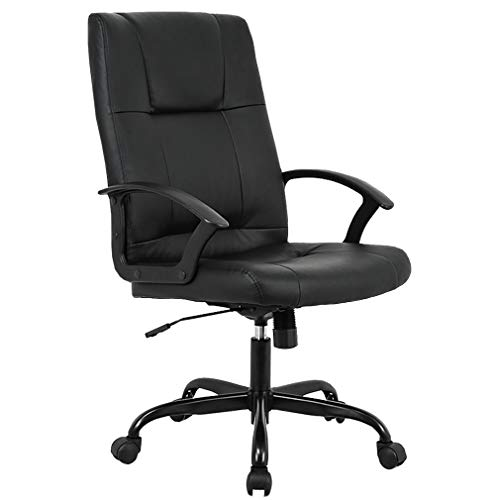Home Office Chair, Ergonomic Desk Task Executive Chair Rolling Swivel Chair Adjustable Computer Chair with Lumbar Support Headrest PU Leather Chair for Women, Men (Black)