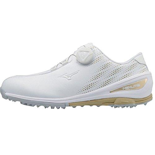 Mizuno 2018 NEXLITE 004 BOA Spikeless Wasserdichte Damen Golfschuhe White/Gold