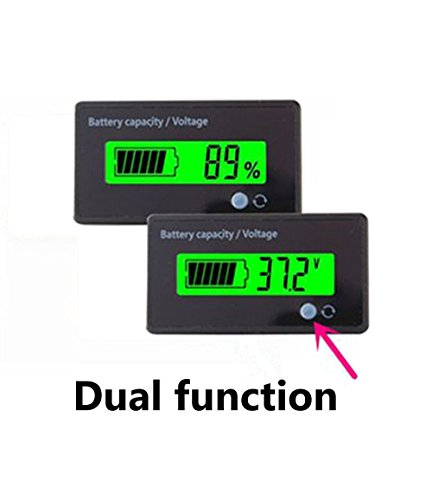 Multifunctional Battery Capacity Monitor 36V LCD Battery Fuel Gauge Indicator Meter for Lead-acid Battery Motorcycle Golf Cart Car, (36 Volt Battery Meter)
