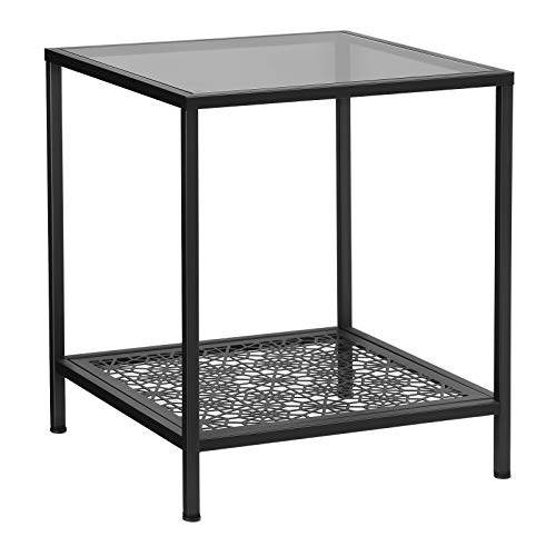 - SONGMICS Side Table Glass, End Table with Flower Pattern Shelf, Robust Tempered Glass Night Stand, Stable, Decorative, for Living Room, Bedroom, Balcony, Metal, Black ULGT01BK