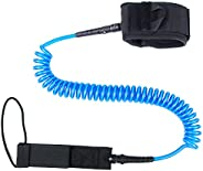 Surfboard Leash, Paddle Leash - Black Paddle Board Leash, 10FT 7mm Coiled Paddle Board Ankle Straps Durable Bo