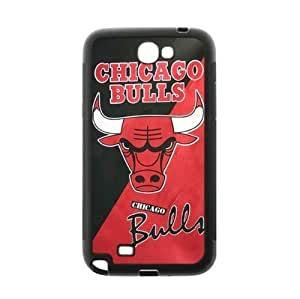 Fitted Samsung Galaxy Note 2 TPU Phone Case Chicago Bulls Background-by Allthingsbasketball