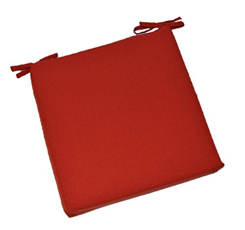 Universal 2 Thick Foam Seat Cushion with Ties for Dining Patio Chair – Solid Red – Choose Size 20 x 18
