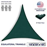 Windscreen4less 19' x 19' x 19' Sun Shade Sail Canopy in Green with Commercial Grade (3 Year Warranty) Customized Sizes Included Free Pad Eyes