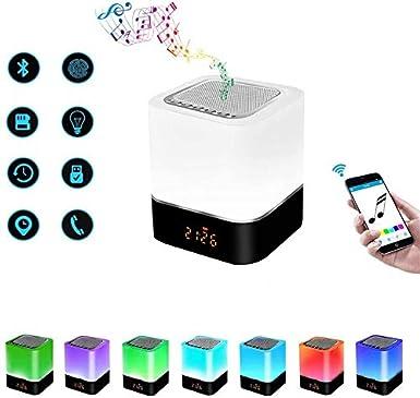 SOOTOP Lámpara de altavoz Bluetooth, Linterna portátil para acampar, 3 niveles de brillo Altavoz Bluetooth con 7 cambios de color Reloj despertador digital Control táctil Carga USB