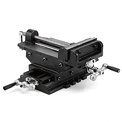 Cross Slide Drill Press Vise,6 inches Metal Milling Vice Holder Clamping Bench Mount Heavy Duty Cast Clamping Machine Shop Tools
