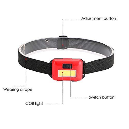 ACAMPTAR COB Led Head Light Lamp Lamp Headlight 3 Modos Rainproof Head Antorcha Linterna Head para Acampar Al Aire Libre Pesca Azul