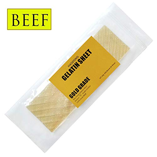Haodong Beef Gold Leaf Gelatin Sheets - 200 Bloom (20 Sheets, 40g) - Unflavored Gelatin Leaves for Baking and Cooking