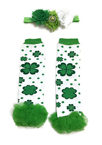 [Rush Dance Flowery Shamrock Ruffles St Patrick's Day Baby Leg Warmer + Headband] (Cute St Patricks Day)