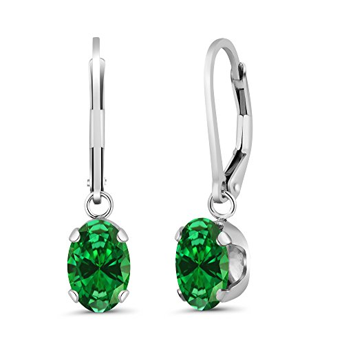 - Gem Stone King 4.20 Ct Oval Green Simulated Emerald 925 Sterling Silver Women's Earrings