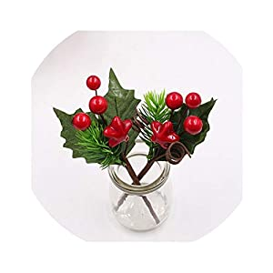 It's a big deal 1pcs Artificial Flower red Pearl Stamen Berries Branch for Wedding Christmas Decoration DIY Box Craft Flowe,7 31