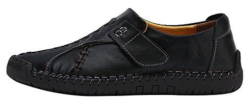 Agowoo Heren Vintage Haak En Lus Slip Op Loafer Casual Lederen Schoenen Zwart