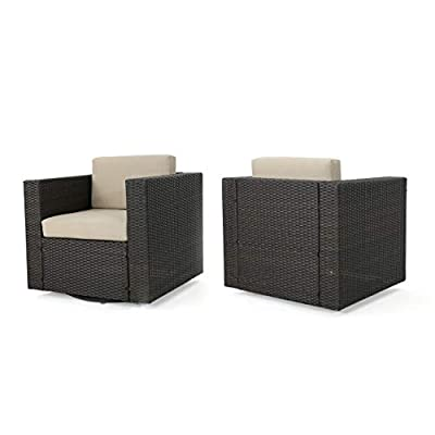 GDF Studio Venice Outdoor Dark Brown Wicker Swivel Club Chair with Beige Water Resistant Cushions (Set of 2, Dark Brown/Beige)