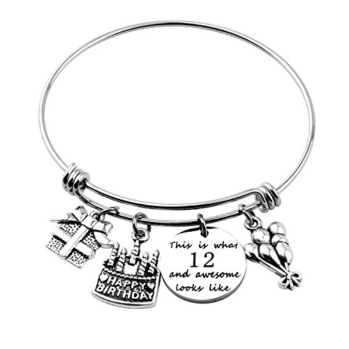Birthday Gift for Her Adjustable Birthday Bracelet Bangle with Birthday Cake Charm,12th Sweet 16th 18th 21st 30th 39th 40th Bangle gift,Anniversary Gift (12th Birthday)