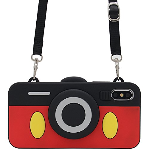 iPhone X Case, MC Fashion Cute 3D Mickey Mouse Camera Design Case with Adjustable Neck Strap, Shockproof and Protective Soft Silicone Phone Cover for Apple iPhone X/iPhone 10