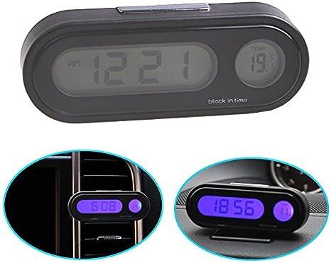 UHR für KFZ Auto Temperatur Mini 2 in 1 Clip-on Digital KFZ LCD Thermometer
