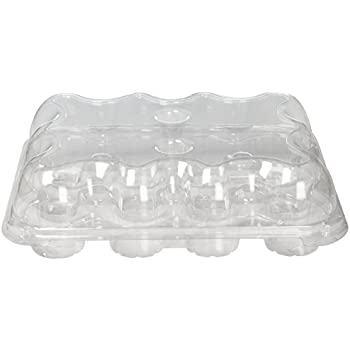 Oasis Supply 12-Compartment Hinged High Dome Clear Cupcake Container, Clear
