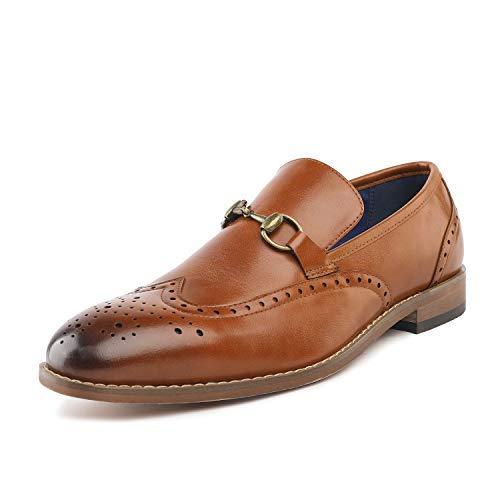 Bruno Marc Men's Camel Dress Loafers Wingtip Shoes William_5 Size 10 M US (Best Designer Wedding Shoes)