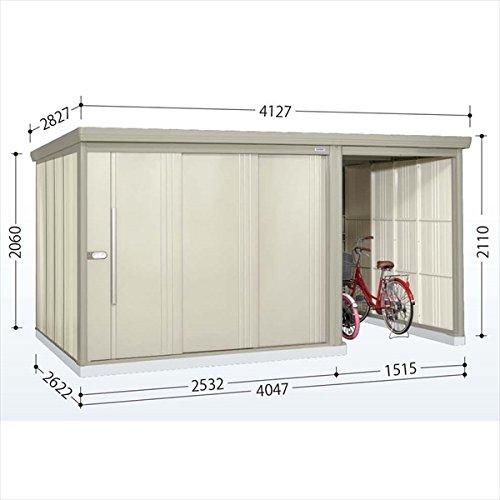 タクボ物置 TP/ストックマンプラスアルファ TP-4026 一般型 標準屋根 『駐輪スペース付 屋外用 物置 自転車収納 におすすめ』 ムーンホワイト B00V5L0N1Y