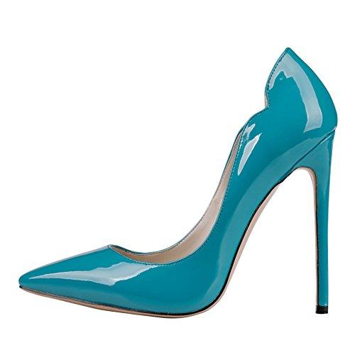 MERUMOTE Womens J-0535 Pointed Toe High Heels Dress Pump Blue Patent