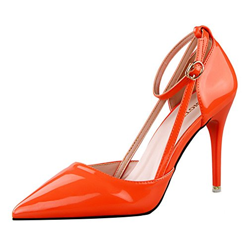 No.66 Town Women's Fashion PU Ankle Strap D'Orsay Pump Court Shoes Orange