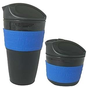 VoyagerLife 12 Ounce Collapsible Travel Mug with Leak Proof Lid for Traveling, Portable Coffee Mug, Travel Coffee Mug, BPA-Free Silicone, Eco-Friendly Coffee Mug (Blue Travel Mug)