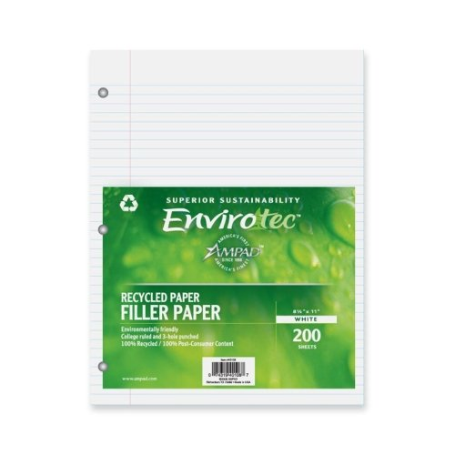 Wholesale CASE of 20 - Esselte 100% Recycled 3-hole Punched Filler Paper-Filler Paper,3HP,Cllge Rld.,20lb.,11''x8-1/2'',200 Sh/PK,WE by ESS