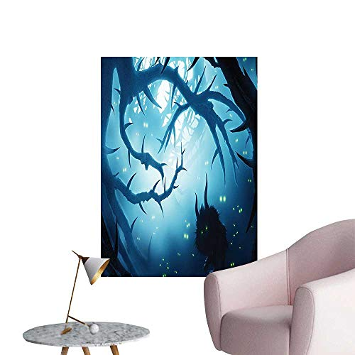 Wall Decals Animal with Burning Eyes in Dark Forest at Night Horror Halloween Illustration Environmental Protection Vinyl,28