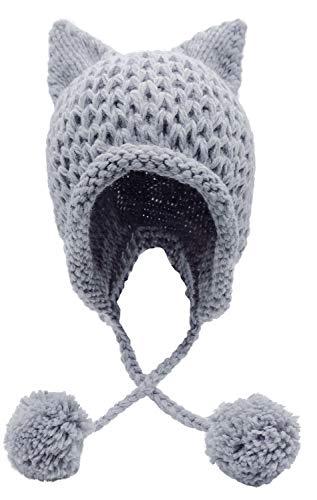 (Bellady Winter Cute Cat Ears Knit Hat Ear Flap Crochet Beanie Hat,Light Grey)