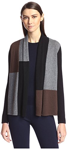 SOCIETY NEW YORK Women's Colorblocked Open Cashmere Cardigan, Black Multi, L