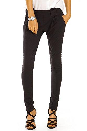 Bestyledberlin Damen Chino Hosen Slim Fit elegante Bundfalten Stoffhose j77kw 36/S schwarz