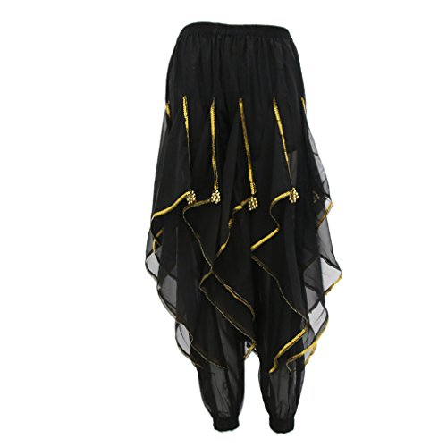Fenteer Rotating Dance Pants Bloomers Belly Dancing Dancer Tribal Baggy Pantskirt - Black, as described