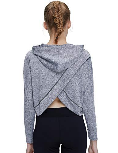 Helisopus Women's Sports Fitness Workout Long Sleeve Crop Top Shirt Hoodie Drawstring Loose Pullover Sweatshirt -
