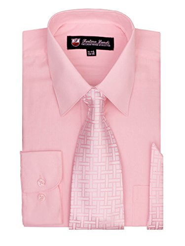 [Men's Dress Shirt, Tie & Hanky Set-Pink M (15-15.5) Neck 34/35 Sleeve] (Pink Man Suit)