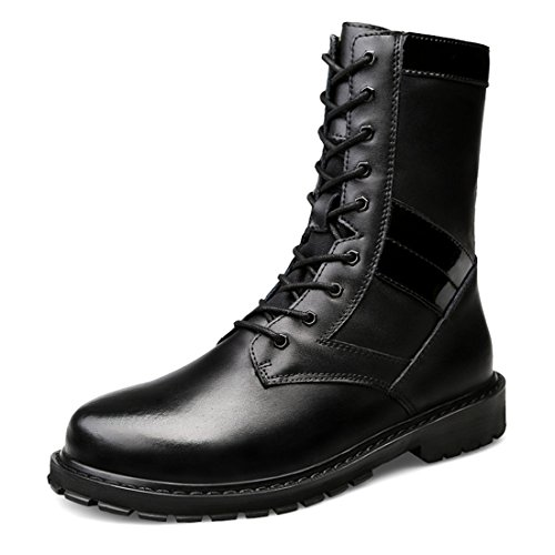 TDA Mens Fashion Lace-up Leather Outdoor Chukka Winter Combat Boots Black TZWD93sl