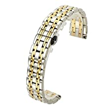 Top Plaza 22MM Silver&Gold Solid Stainless Steel Straight End Link Bracelet Wrist Watch Band Strap Replacement Double Push Spring Butterfly Deployment Clasp 7 Rows Metal Strap