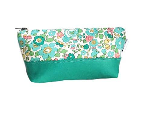Teal Floral Leather Pouch, Small Makeup Bag, Leather Clutch for Women, Zipper Pouch, Travel Cosmetic Bag