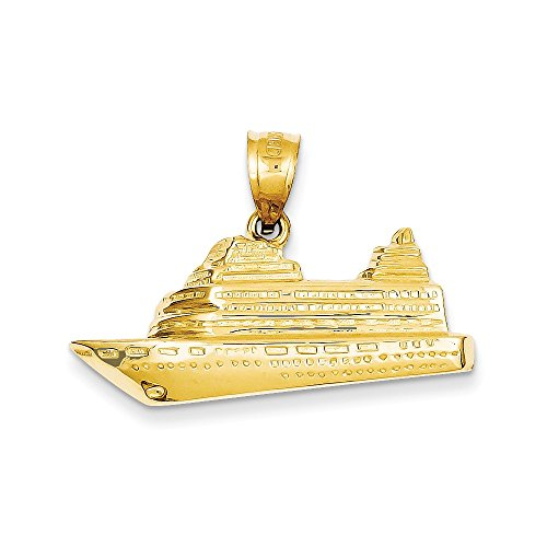 14k Cruise Ship Pendant - 14k Gold Cruise Ship Charm Pendant (0.83 in x 1.26 in)