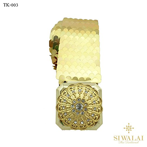 Dance Costumes Thai Traditional (Siwalai Thai Traditional Gold Plated Clear Crystal Costume Elastic Belt 26-38)