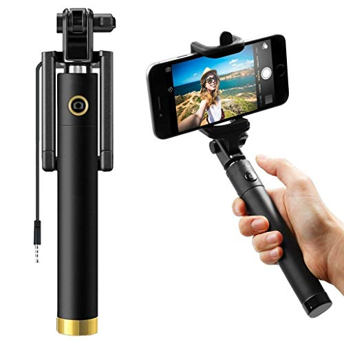 ShopMagics Selfie Stick for Motorola One 2020, TCL 10 Pro, Motorola Edge Plus, Nokia 9.2, OPPO A31 2020 / A 31, Realme 6 Pro / 6Pro, OnePlus 8 Lite / 8Lite Selfie Stick Compact Pocket Size Mini Foldable Monopod Extendable 360° Adjustable Light Weight 3.5mm Aux Cable/Wired Built-in Remote No Charging Require (SELF, Multi)
