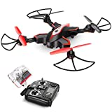DoDoeleph Syma X56W FPV RC Drone Foldable Quadcopter with HD WiFi Camera and Live Video 4 Channel Headless Mode Altitude Hold One Key Take Off Landing UAV Black