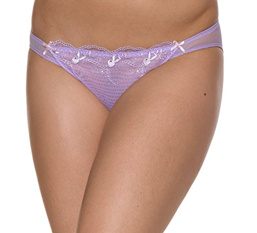 Playboy Women's Low-cut & Lace Bikini Panty M Lilac