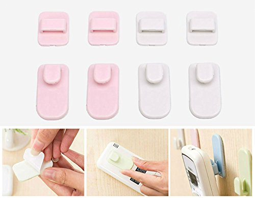 AKOAK 4 Set Multi-function TV Air Conditioning Remote Control Wall Self Adhesive Hook Holder(White 2 Set + Pink 2 ()