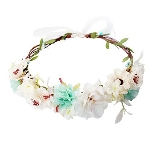 Handmade Adjustable Flower Wreath Headband Halo Floral Crown Garland Headpiece Wedding Festival Party (C1-Light Green+White) (Bridal Wreath Headband)