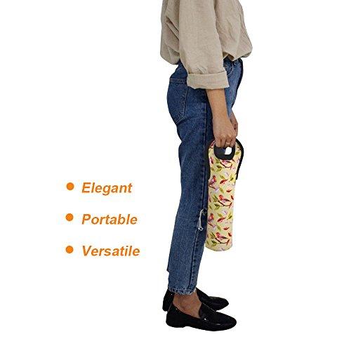 Acelane Flaschenträger Bottlebag Halter und Träger Tasche mit Wärmeschutz für Champagnerflaschen - Set aus 2 für 2 Pints / 750 ml auf 1 l Standardflaschen Neopren (PURECOLOR) A4