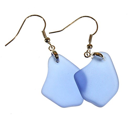 t Navy Blue Color Faux Sea Glass Earrings, Dangle 2.0 Inches (Silver Dangle Blue Glass Earrings)