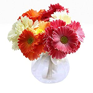 MARJON FlowersWedding Bouquet, Artificial Fake Flowers Gerbera Bouquet Floral Wedding Bouquet Party Home Decor Artificial Flowers in Vases for Living Room 56
