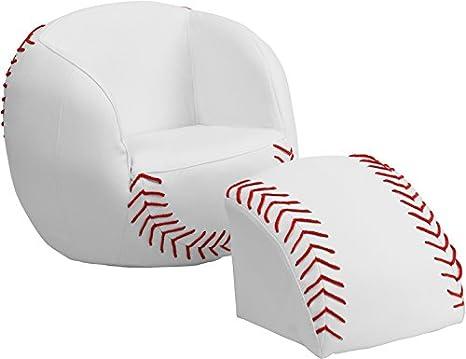 Amazon.com: Flash Muebles Kids Silla de béisbol y reposapiés ...